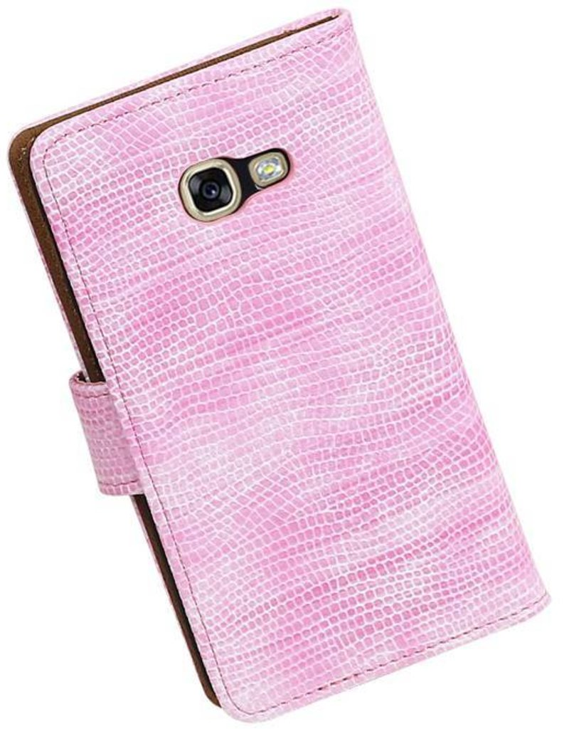 Lizard Bookstyle Hoes voor Galaxy A3 2017 A320F Roze
