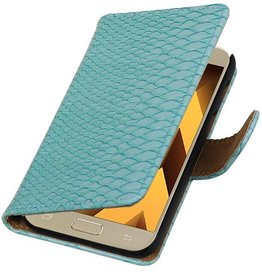 Snake Bookstyle Hoes voor Galaxy A3 2017 A320F Turquoise