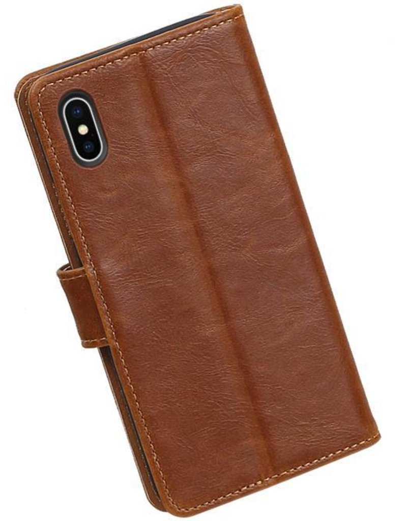 Pull Up TPU PU Leder Bookstyle voor iPhone X Bruin