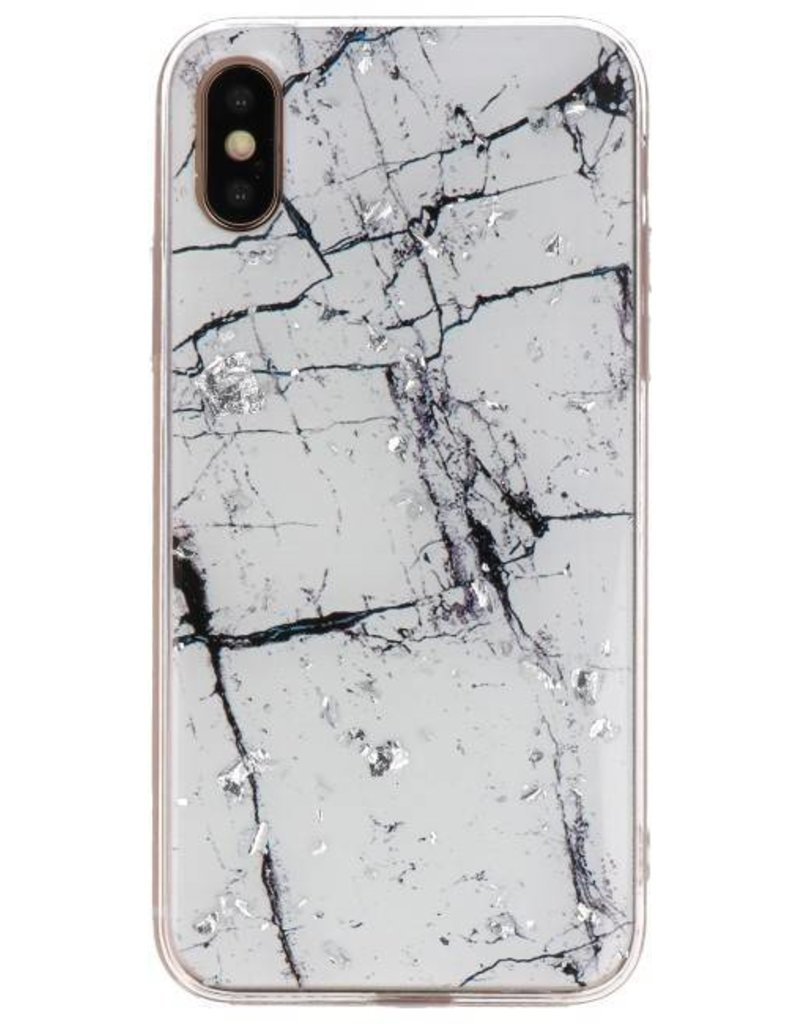 Print Hardcase voor iPhone X / XS Marble Wit
