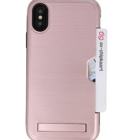 Tough Armor Kaarthouder Stand Hoesje voor iPhone XS Rose Goud