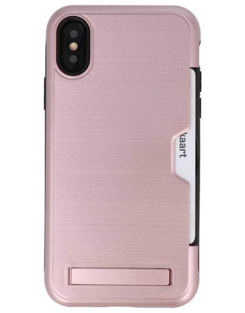 Tough Armor Kaarthouder Stand Hoesje voor iPhone XS Rose Goud