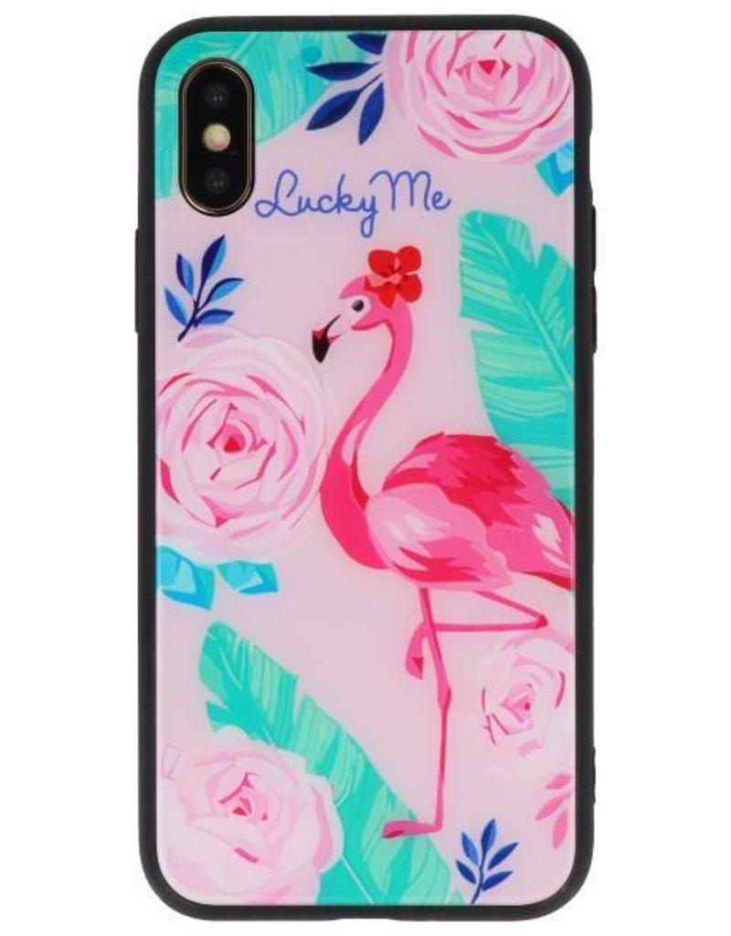 Print Hardcase voor iPhone XS Lucky Me  Flamingo