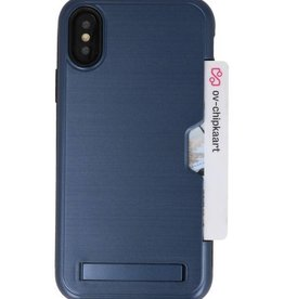 Tough Armor Kaarthouder Stand Hoesje voor iPhone XS Navy