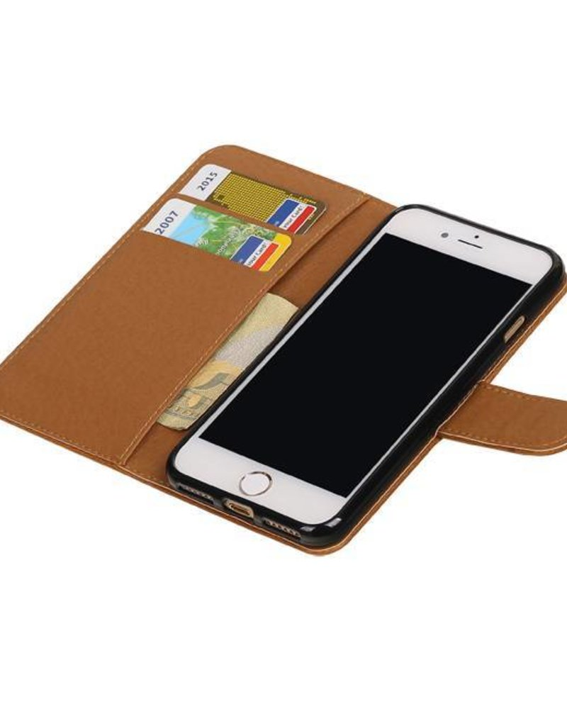Pull Up TPU PU Leder Bookstyle voor iPhone 7 Bruin