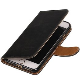 Pull Up TPU PU Leder Bookstyle voor iPhone 7 Zwart