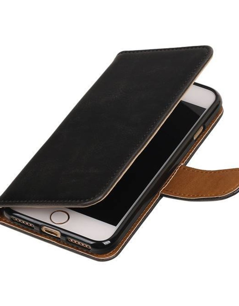 Pull Up TPU PU Leder Bookstyle voor iPhone 7 Zwart