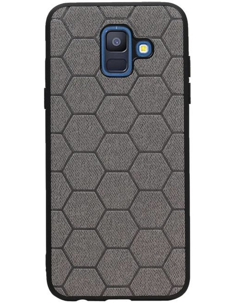 Hexagon Hard Case voor Samsung Galaxy A6 2018 Blauw
