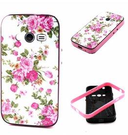 Samsung Galaxy Ace 4 siliconen hoesje met gekleurde bumper Flowers