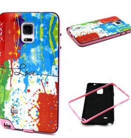 Samsung Galaxy Note 4 Hard siliconen hoesje met gekleurde bumper Love