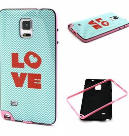 Samsung Galaxy Note 4 Hard siliconen hoesje met gekleurde bumper Love 1