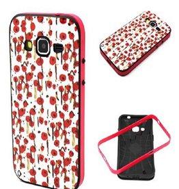 Samsung Galaxy Core Prime TPU Hoesje met gekleurde Bumper Flowers