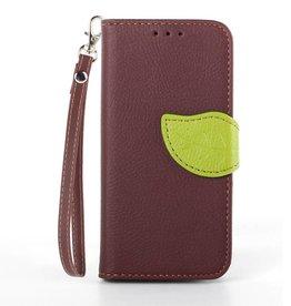 Samsung Galaxy S4 mini PU Lederen Wallet Leaf Bruin