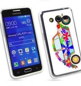 Samsung Galaxy Core 2 TPU hoesje VW Kever Flower Power