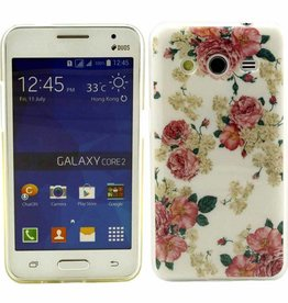 Samsung Galaxy Core 2 TPU soft case hoesje Flowers