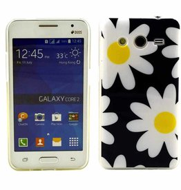 Samsung Galaxy Core 2 TPU soft case hoesje Flowers Blauw