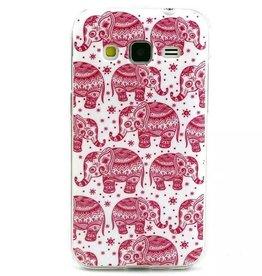 Samsung Galaxy Core Prime TPU hoesje Olifantjes Rose