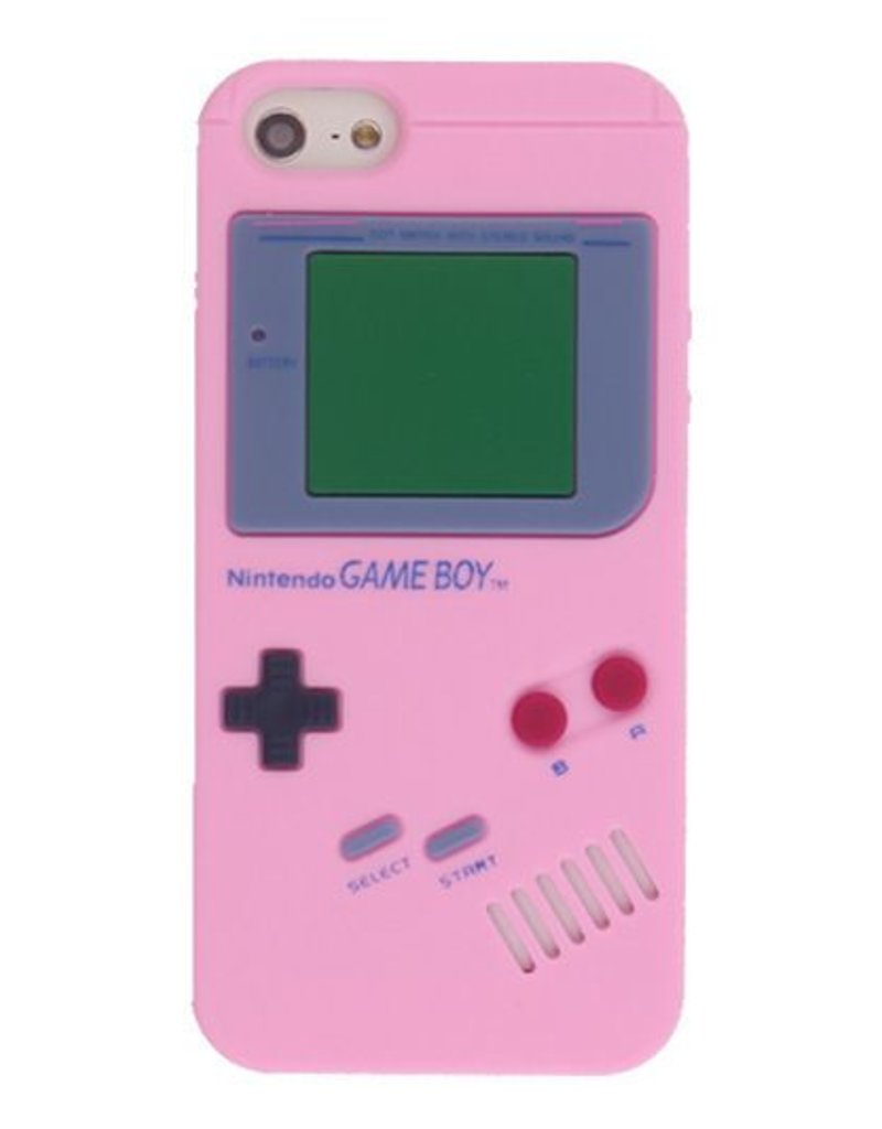 Iphone 5 (S) Siliconen hoesje Retro Game Boy Licht rose