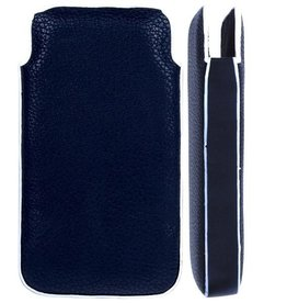 Iphone 4(S) PU Lederen Pouch  Zwart/Wit