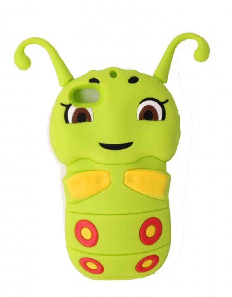 Iphone 4(S) siliconen 3D hoesje Rupsje groen