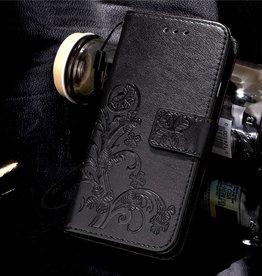 Huawei Ascend P9 Lite Wallet Book Case Flower Black