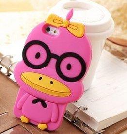 Iphone 5(S) en 5(C)  3D hoesje Pink Duck