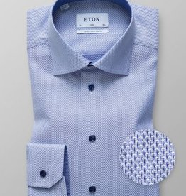 Eton Blue Twill Shirt with Navy buttons