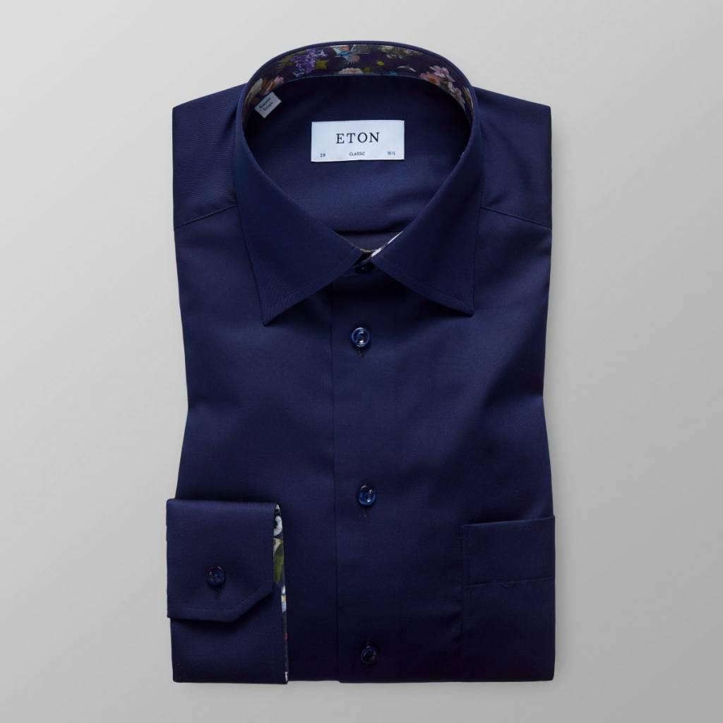 Eton Navy Twill shirt with trim detail