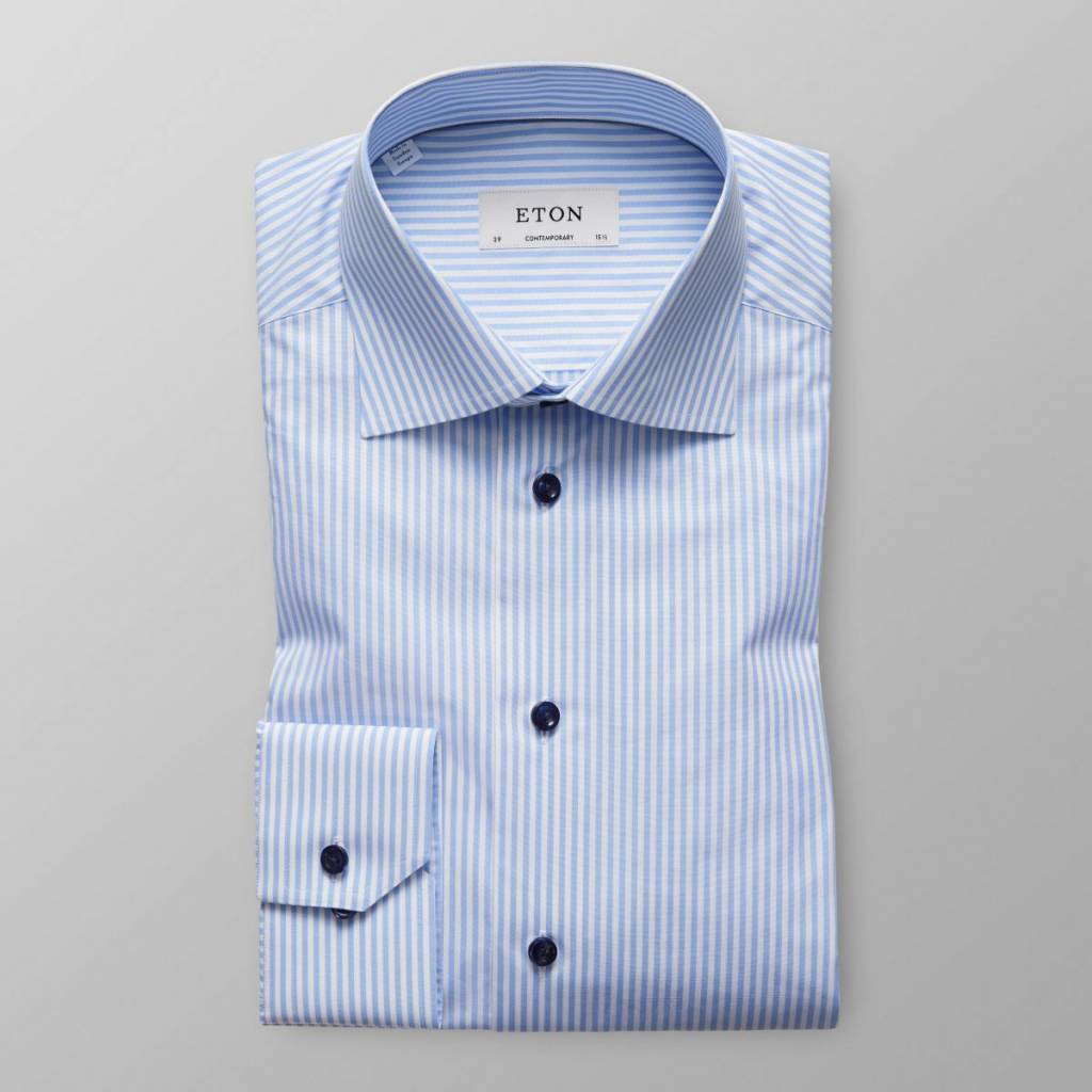 Eton Candy Stripe Poplin with Navy Button