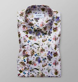 Eton White floral and fauna shirt