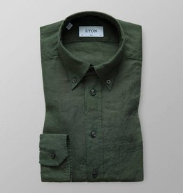Eton Long Sleeved Green Linen shirt