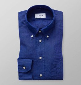 Eton Long Sleeved Blue Linen shirt