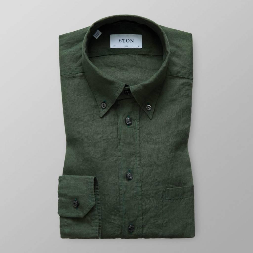 Eton Long Sleeved Green Linen shirt