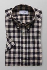 Eton light Brown/Black checked Linen Shirt