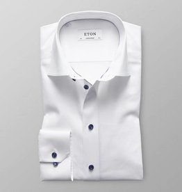 Eton White Twill Shirt With Navy Details
