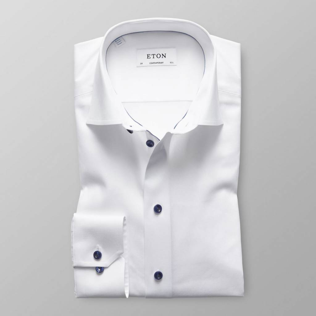 Eton Slim fit White Twill Shirt With Navy Detail