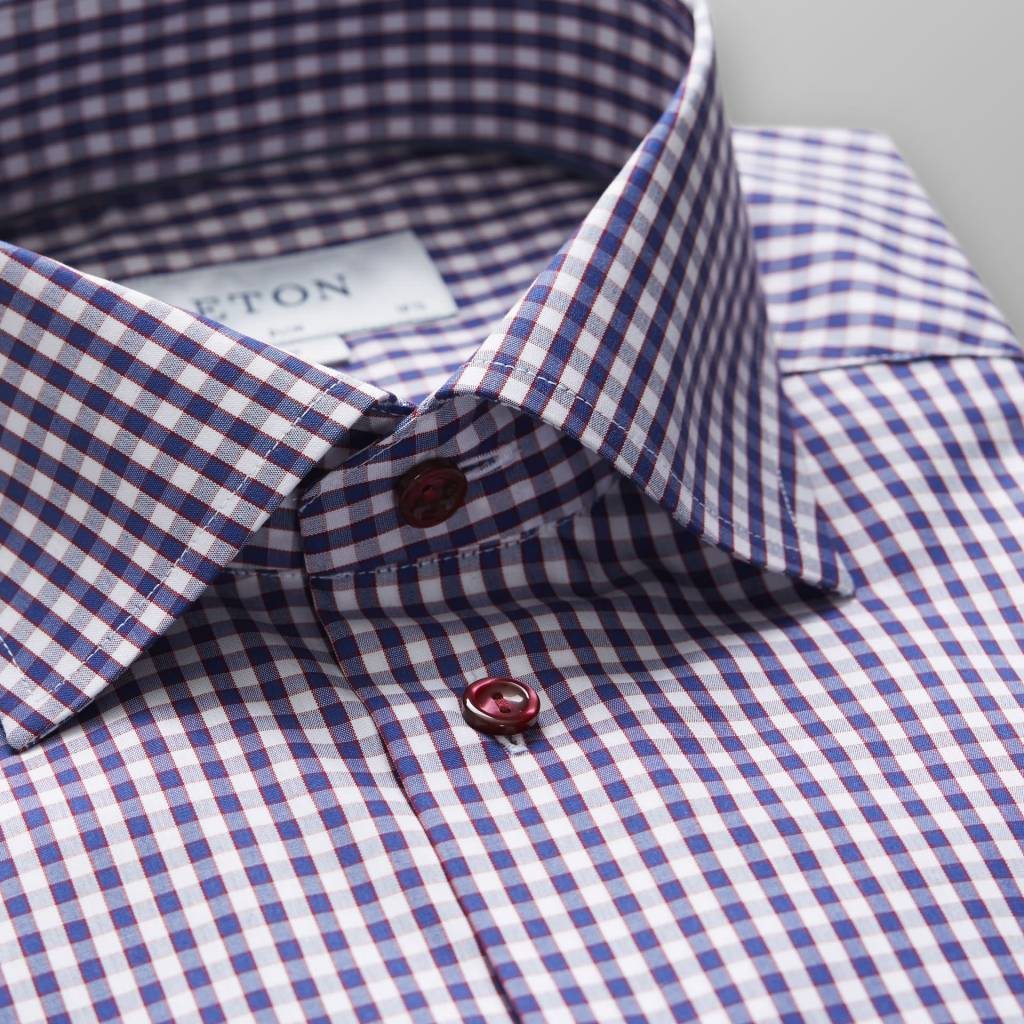 Eton Gingham check with red button