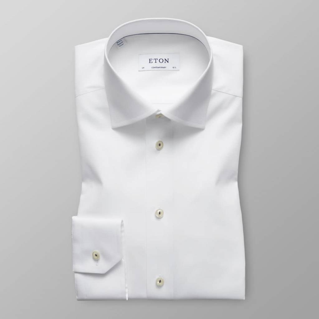 Eton White Poplin with red piping