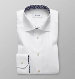 Eton White twill shirt with trim detail