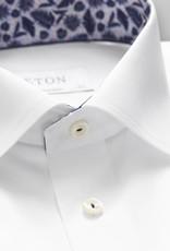 Eton White twill shirt with trim detail