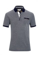 Bugatti navy polo with suede detail