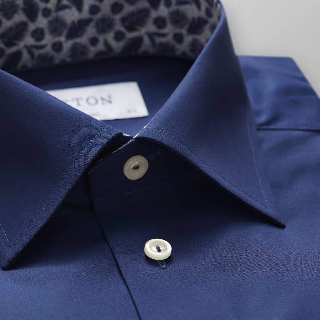 Eton Navy Poplin with fern Print