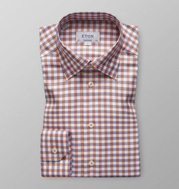 Eton Orange check with hidden button down