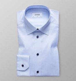 Eton Slim fit Blue twill with blue button