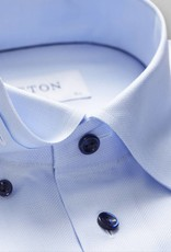 Eton Slim fit Blue twill with blue button