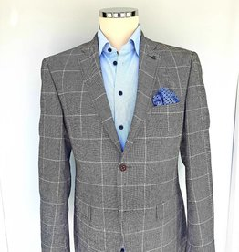 Roy Robson Light grey wool with window pane check