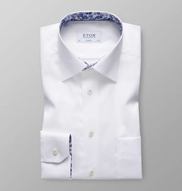 Eton White Twill Shirt with Floral detail