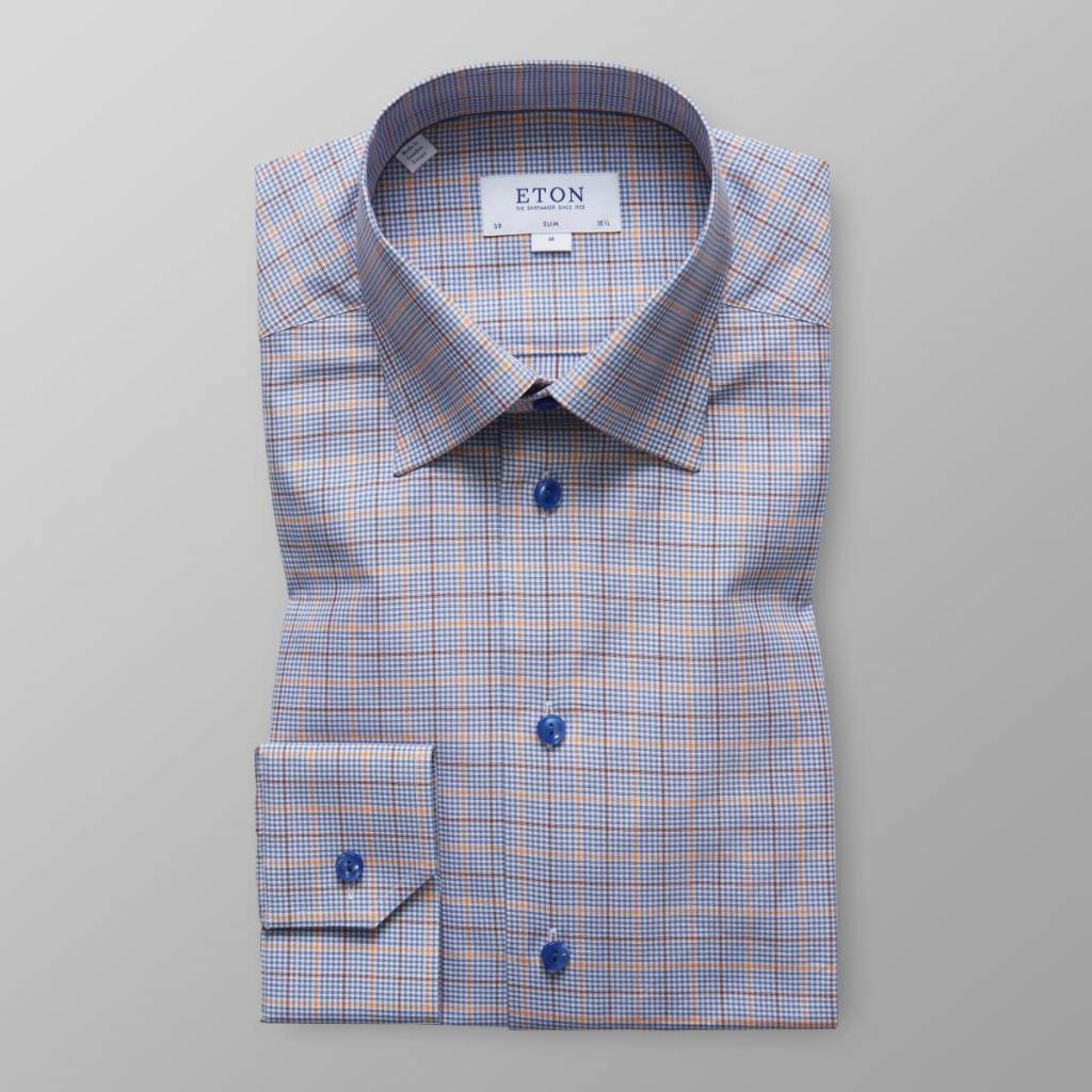 Eton Blue and Orange check shirt