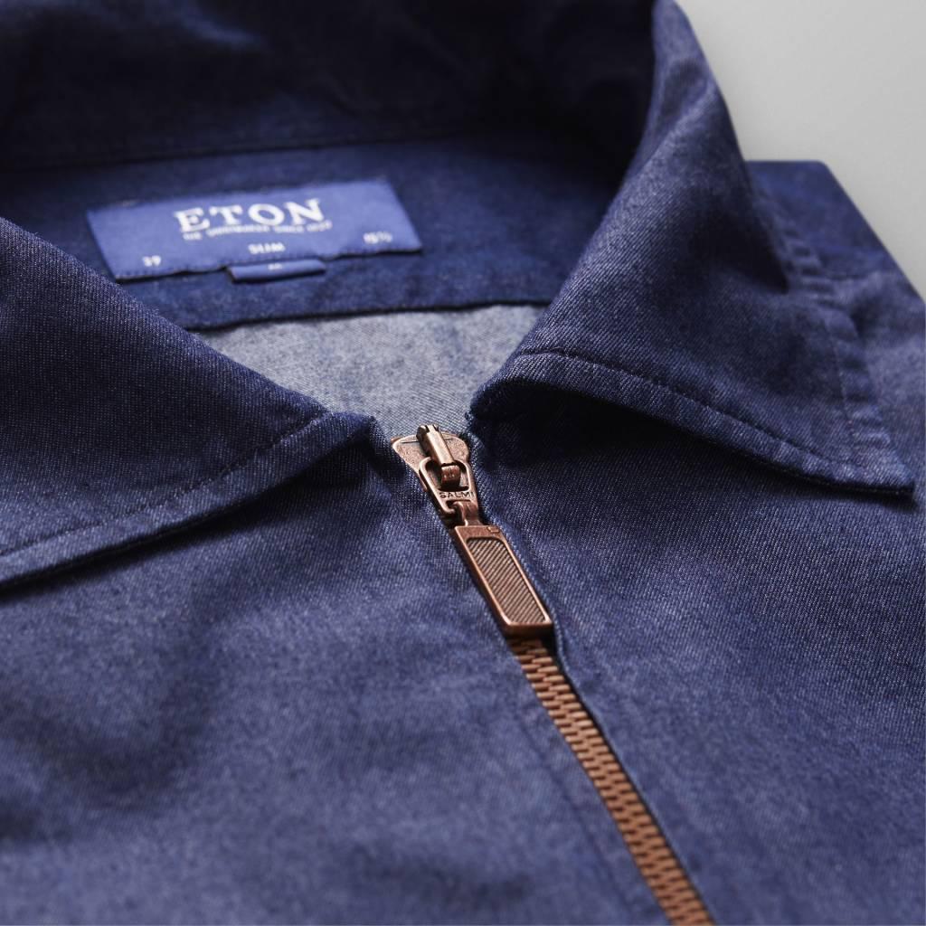 Eton Full zip dark denim slim
