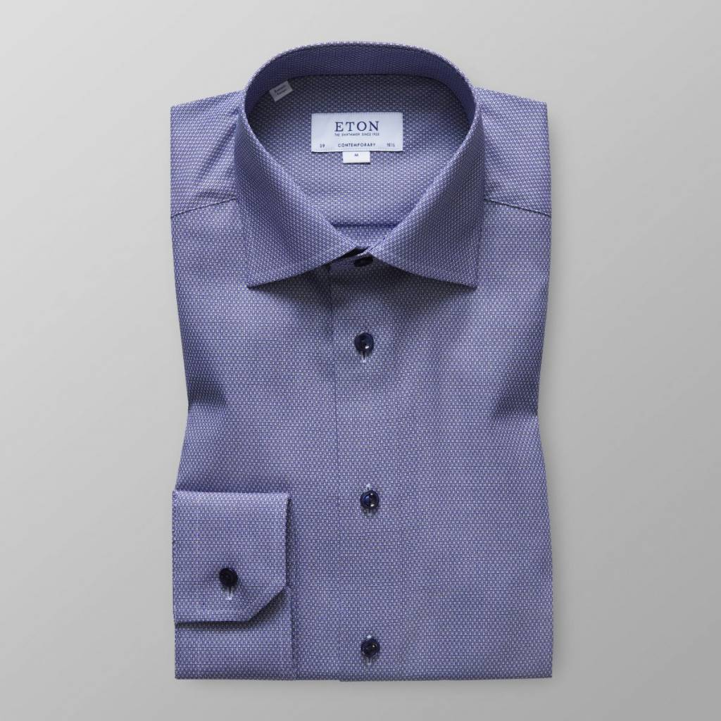 Eton Oxford micro print button under